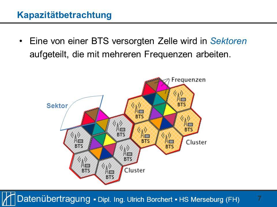 Datenübertragung Dipl. Ing. Ulrich Borchert HS Merseburg (FH) 7 Eine von einer BTS versorgten Zelle wird in Sektoren aufgeteilt, die mit mehreren Freq