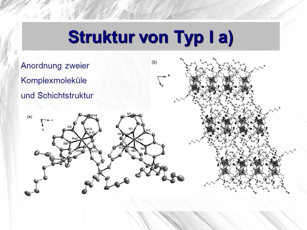 Struktur von Typ I a) Anordnung zweier Komplexmoleküle und Schichtstruktur