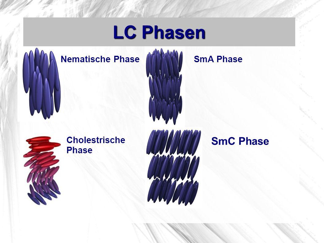 LC Phasen Nematische Phase Cholestrische Phase SmA Phase SmC Phase