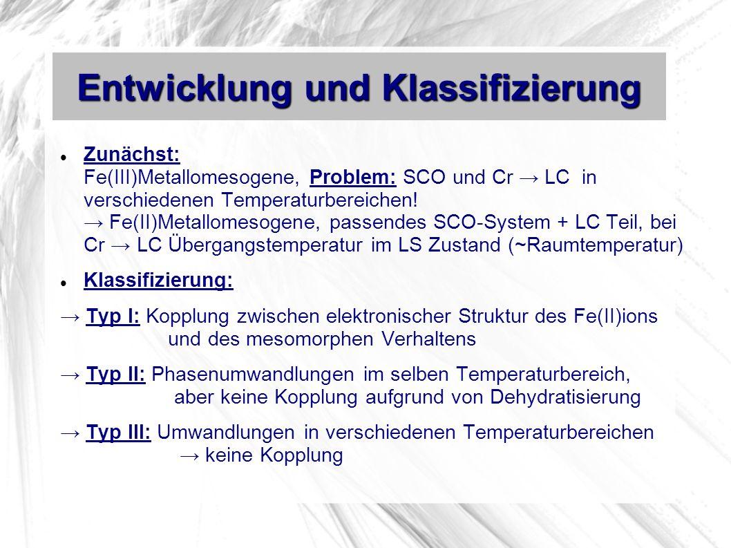 Entwicklung und Klassifizierung Zunächst: Fe(III)Metallomesogene, Problem: SCO und Cr LC in verschiedenen Temperaturbereichen.