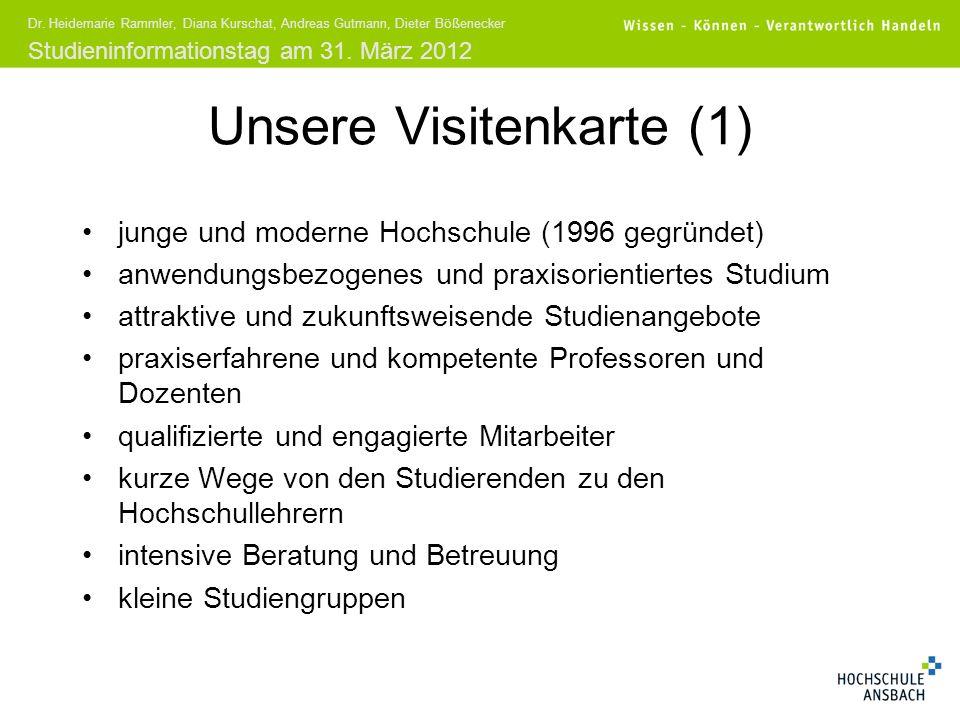 Studieninformationstag am 31. März 2012 Dr. Heidemarie Rammler, Diana Kurschat, Andreas Gutmann, Dieter Bößenecker Unsere Visitenkarte (1) junge und m