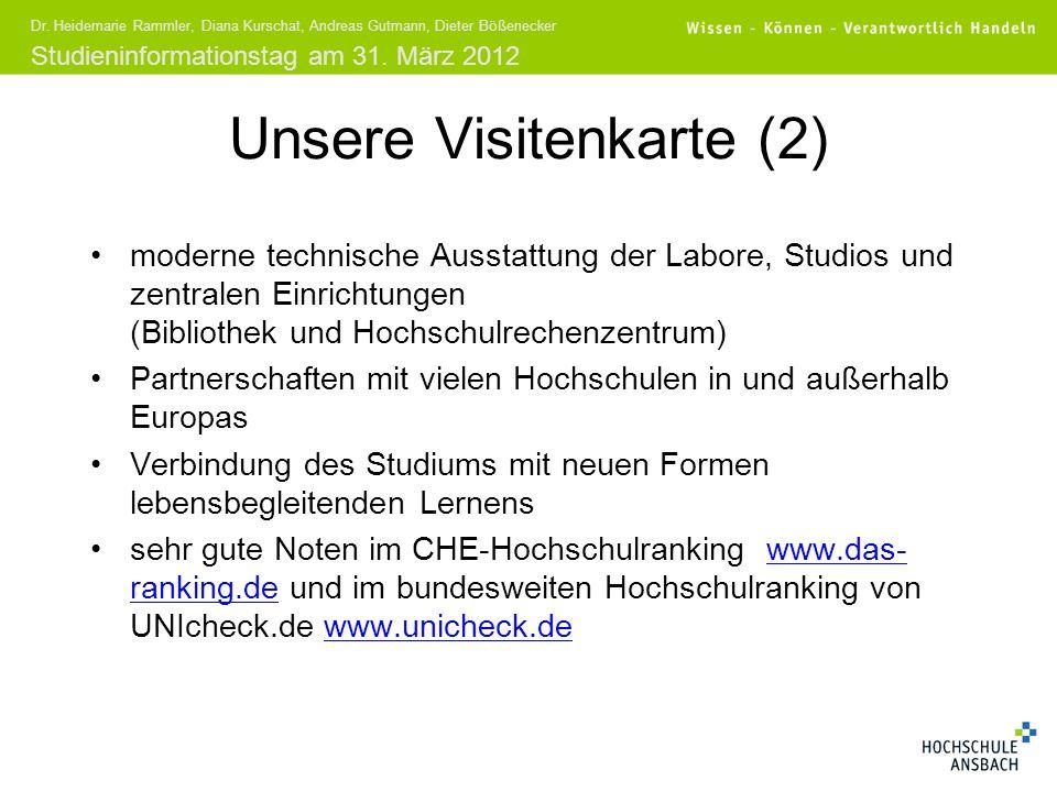 Studieninformationstag am 31. März 2012 Dr. Heidemarie Rammler, Diana Kurschat, Andreas Gutmann, Dieter Bößenecker Unsere Visitenkarte (2) moderne tec