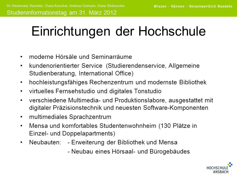 Studieninformationstag am 31. März 2012 Dr. Heidemarie Rammler, Diana Kurschat, Andreas Gutmann, Dieter Bößenecker Einrichtungen der Hochschule modern