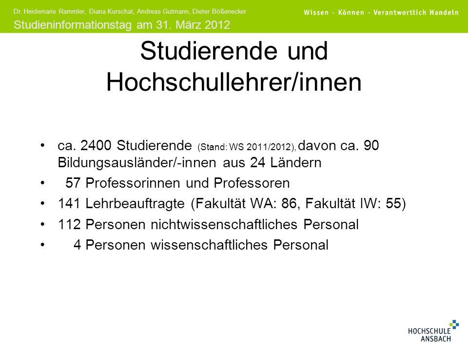 Studieninformationstag am 31. März 2012 Dr. Heidemarie Rammler, Diana Kurschat, Andreas Gutmann, Dieter Bößenecker ca. 2400 Studierende (Stand: WS 201