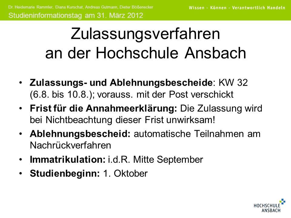 Studieninformationstag am 31. März 2012 Dr. Heidemarie Rammler, Diana Kurschat, Andreas Gutmann, Dieter Bößenecker Zulassungsverfahren an der Hochschu