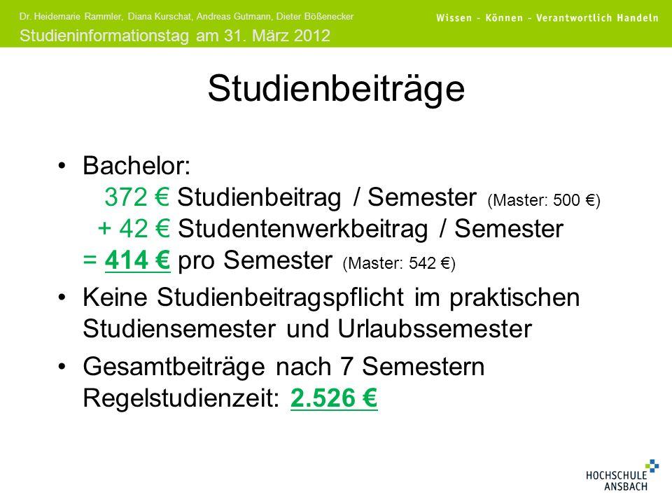 Studieninformationstag am 31. März 2012 Dr. Heidemarie Rammler, Diana Kurschat, Andreas Gutmann, Dieter Bößenecker Studienbeiträge Bachelor: 372 Studi