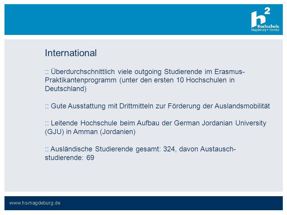 International :: Überdurchschnittlich viele outgoing Studierende im Erasmus- Praktikantenprogramm (unter den ersten 10 Hochschulen in Deutschland) ::
