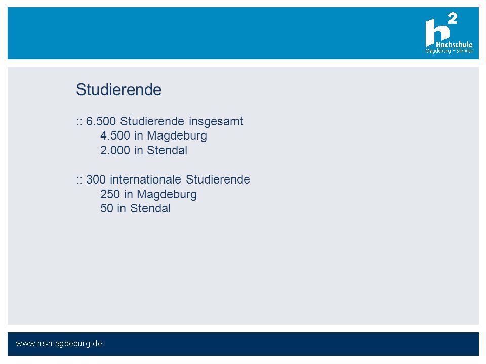 Studierende :: 6.500 Studierende insgesamt 4.500 in Magdeburg 2.000 in Stendal :: 300 internationale Studierende 250 in Magdeburg 50 in Stendal