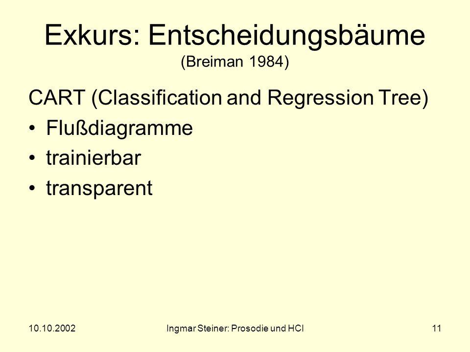 10.10.2002Ingmar Steiner: Prosodie und HCI10 Lösungsversuch per Entscheidungsbaum Entscheidungsbaum erkennt Korrekturversuche und paßt den Spracherken