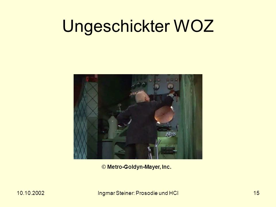 10.10.2002Ingmar Steiner: Prosodie und HCI14 Ergebnisse der WOZ-Experimente Oviatt: Wortdauer, mehr und längere Pausen, Amplitude gleich, F 0 -Minimum niedriger, weniger reduzierte Segmente, weniger disfluencies (Stocken) Pirker: Amplitude größer, mehr und längere Pausen, CME steilere F 0 - Konturen, CRE flachere Fischer: Hyperartikulation wird häufiger, individuelle Strategien