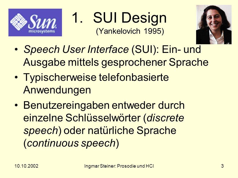 10.10.2002Ingmar Steiner: Prosodie und HCI2 Aufbau 1.SUI-Design 2.Erkennung von Korrekturen 3.WOZ-Experimente 4.Weitere prosodische Informationen 5.Zusammenfassung 6.Literatur