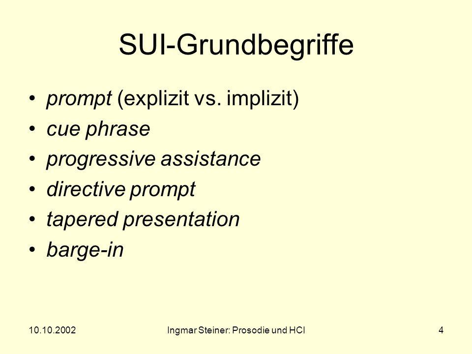 10.10.2002Ingmar Steiner: Prosodie und HCI3 1.SUI Design (Yankelovich 1995) Speech User Interface (SUI): Ein- und Ausgabe mittels gesprochener Sprache