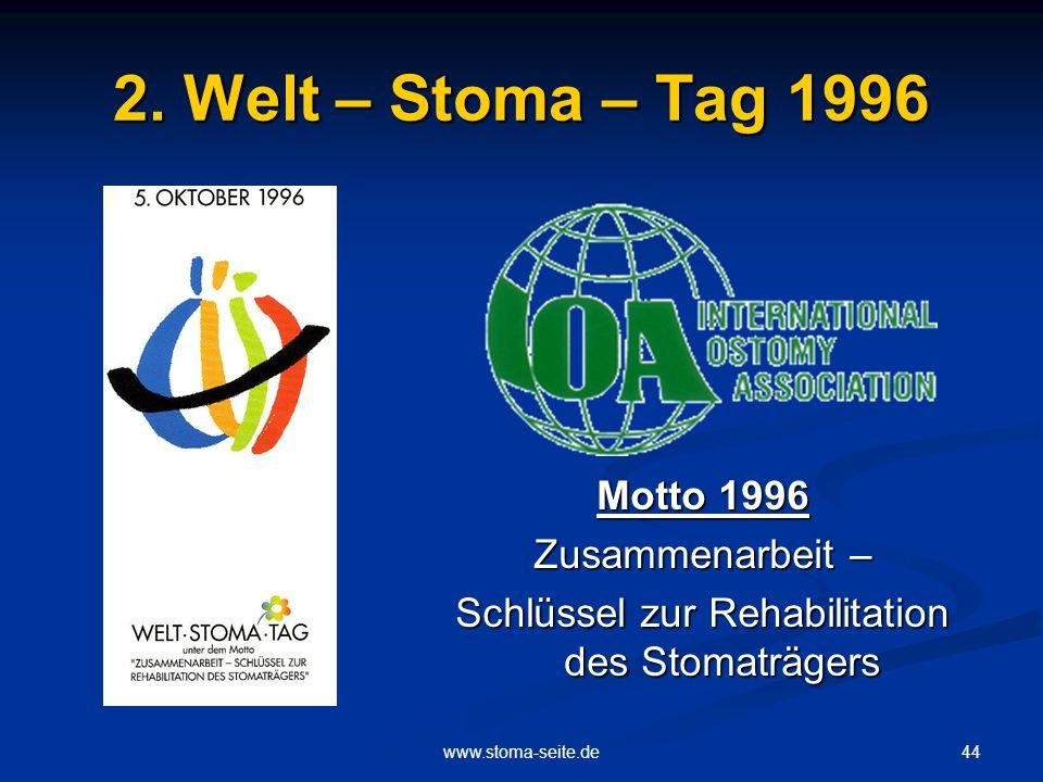 44www.stoma-seite.de 2. Welt – Stoma – Tag 1996 Motto 1996 Zusammenarbeit – Schlüssel zur Rehabilitation des Stomaträgers