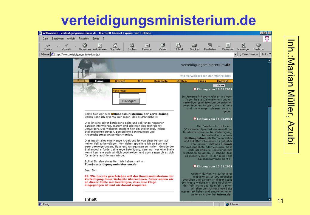 11 verteidigungsministerium.de Inh.:Marian Müller, Azubi