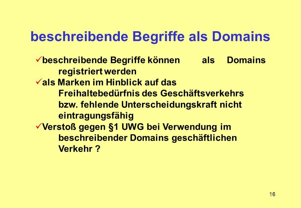 16 beschreibende Begriffe als Domains beschreibende Begriffe können als Domains registriert werden als Marken im Hinblick auf das Freihaltebedürfnis d