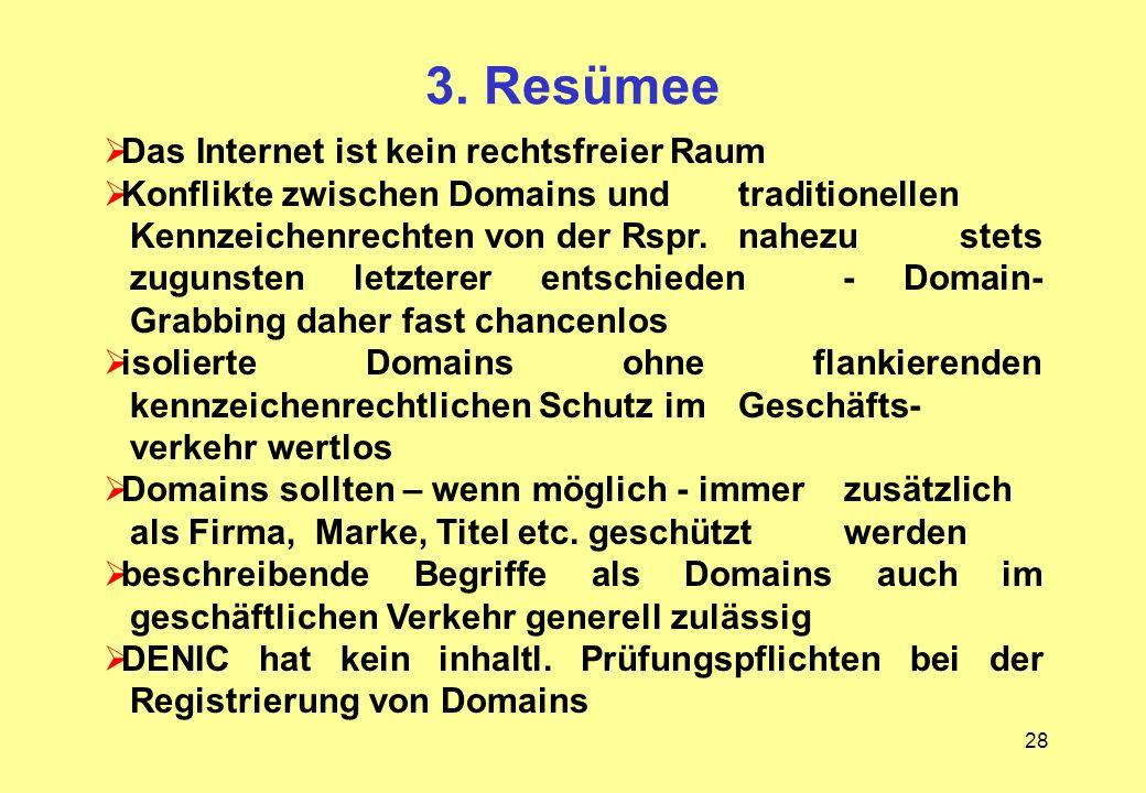 28 3. Resümee Das Internet ist kein rechtsfreier Raum Konflikte zwischen Domains und traditionellen Kennzeichenrechten von der Rspr. nahezu stets zugu