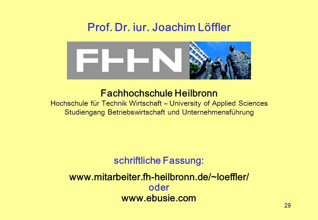 29 Prof. Dr. iur. Joachim Löffler schriftliche Fassung: www.mitarbeiter.fh-heilbronn.de/~loeffler/ oder www.ebusie.com Fachhochschule Heilbronn Hochsc