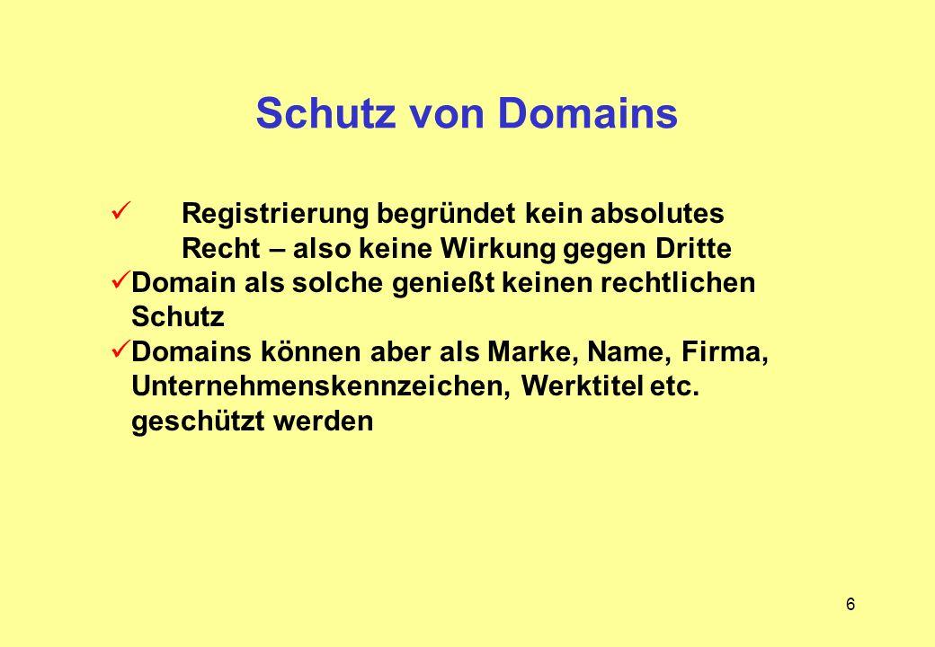 6 Schutz von Domains Registrierung begründet kein absolutes Recht – also keine Wirkung gegen Dritte Domain als solche genießt keinen rechtlichen Schut
