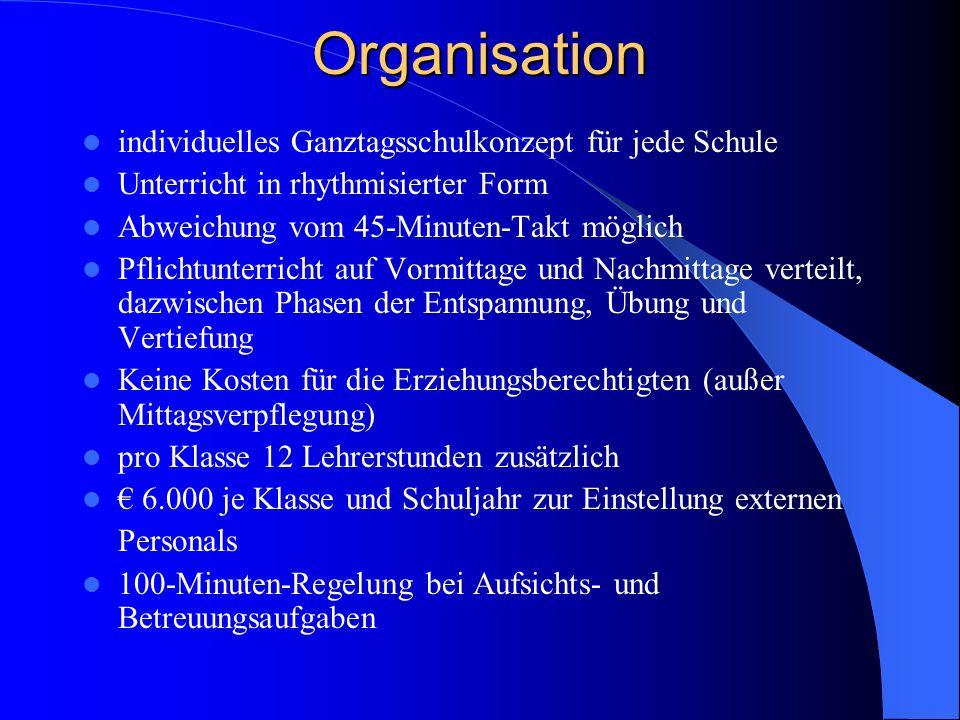 Organisation individuelles Ganztagsschulkonzept für jede Schule Unterricht in rhythmisierter Form Abweichung vom 45-Minuten-Takt möglich Pflichtunterr