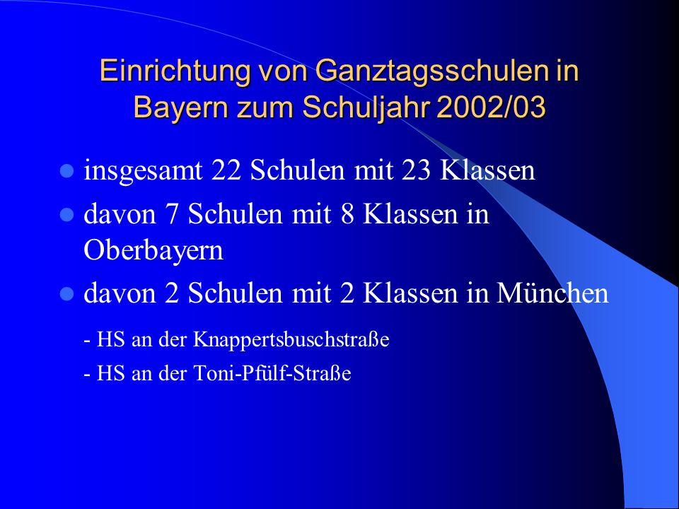 Einrichtung von Ganztagsschulen in Bayern zum Schuljahr 2002/03 insgesamt 22 Schulen mit 23 Klassen davon 7 Schulen mit 8 Klassen in Oberbayern davon