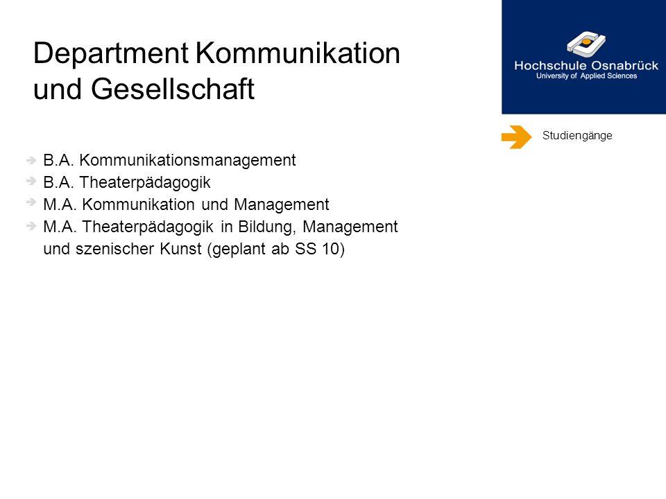 Studiengänge B.A. Kommunikationsmanagement B.A. Theaterpädagogik M.A. Kommunikation und Management M.A. Theaterpädagogik in Bildung, Management und sz