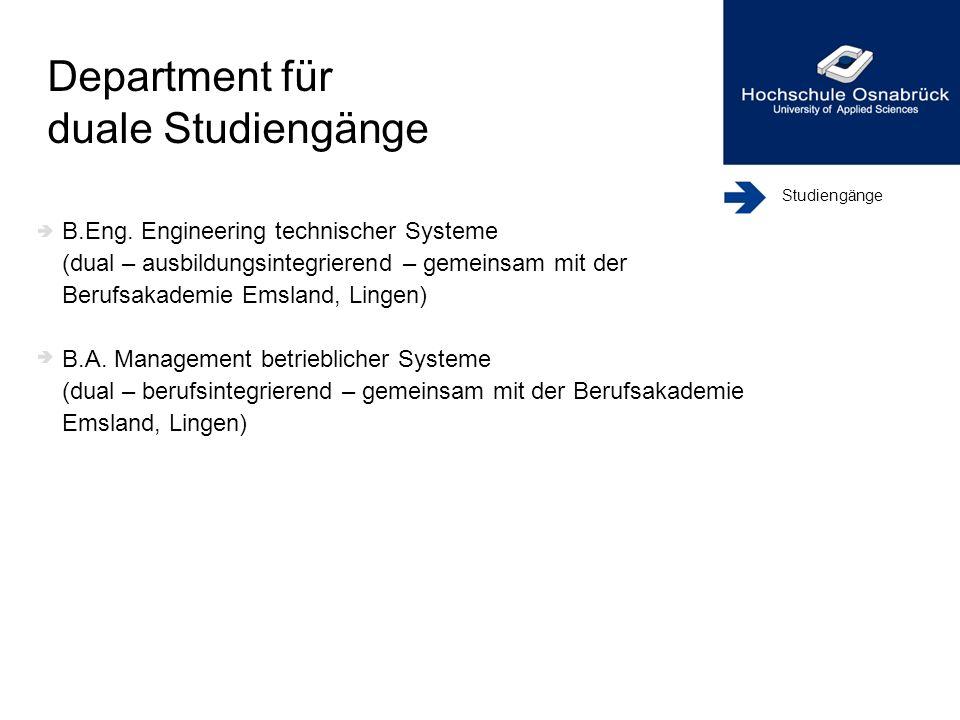 Studiengänge B.Eng. Engineering technischer Systeme (dual – ausbildungsintegrierend – gemeinsam mit der Berufsakademie Emsland, Lingen) B.A. Managemen
