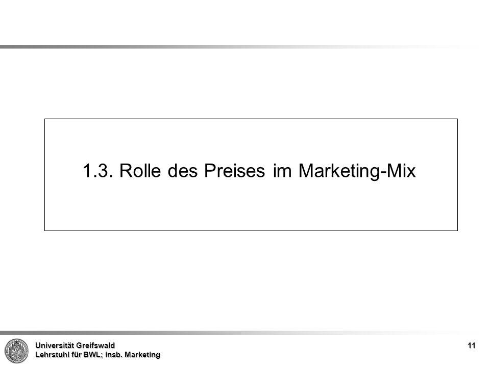 Universität Greifswald Lehrstuhl für BWL; insb. Marketing 1.3. Rolle des Preises im Marketing-Mix 11