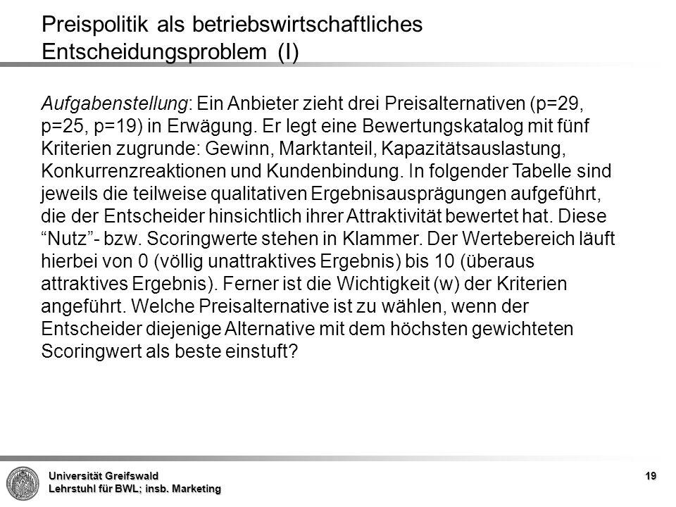 Universität Greifswald Lehrstuhl für BWL; insb. Marketing 19 Preispolitik als betriebswirtschaftliches Entscheidungsproblem (I) Aufgabenstellung: Ein