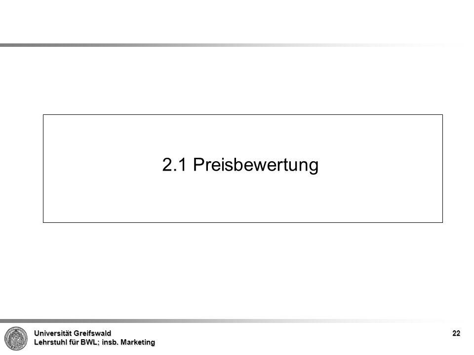 Universität Greifswald Lehrstuhl für BWL; insb. Marketing 2.1 Preisbewertung 22