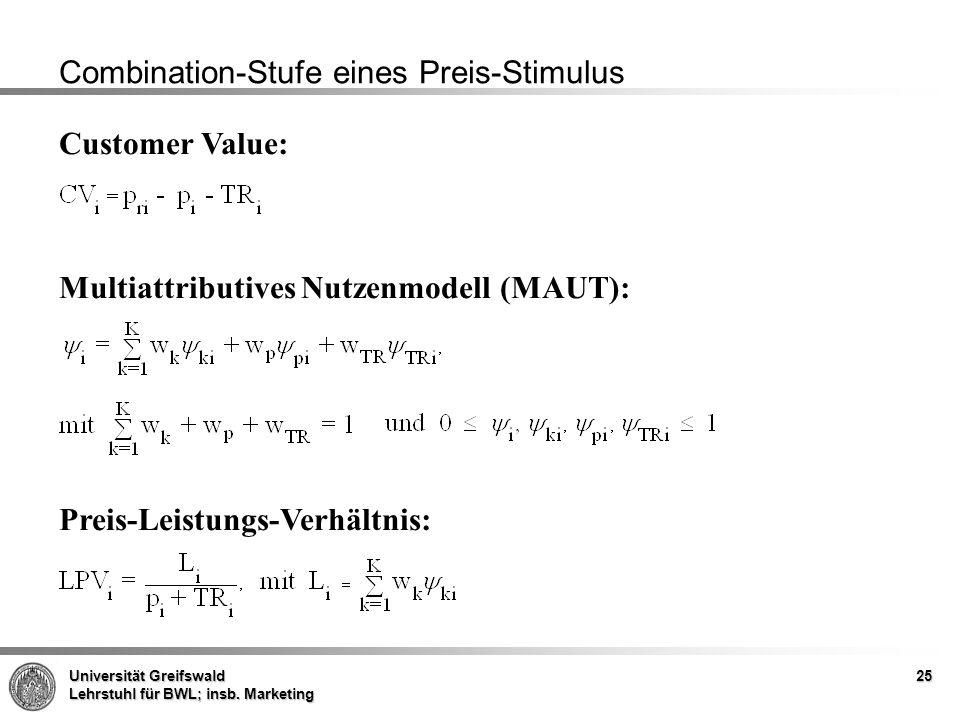 Universität Greifswald Lehrstuhl für BWL; insb. Marketing 25 Combination-Stufe eines Preis-Stimulus Customer Value: Multiattributives Nutzenmodell (MA