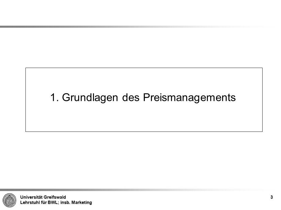 Universität Greifswald Lehrstuhl für BWL; insb. Marketing 1. Grundlagen des Preismanagements 3
