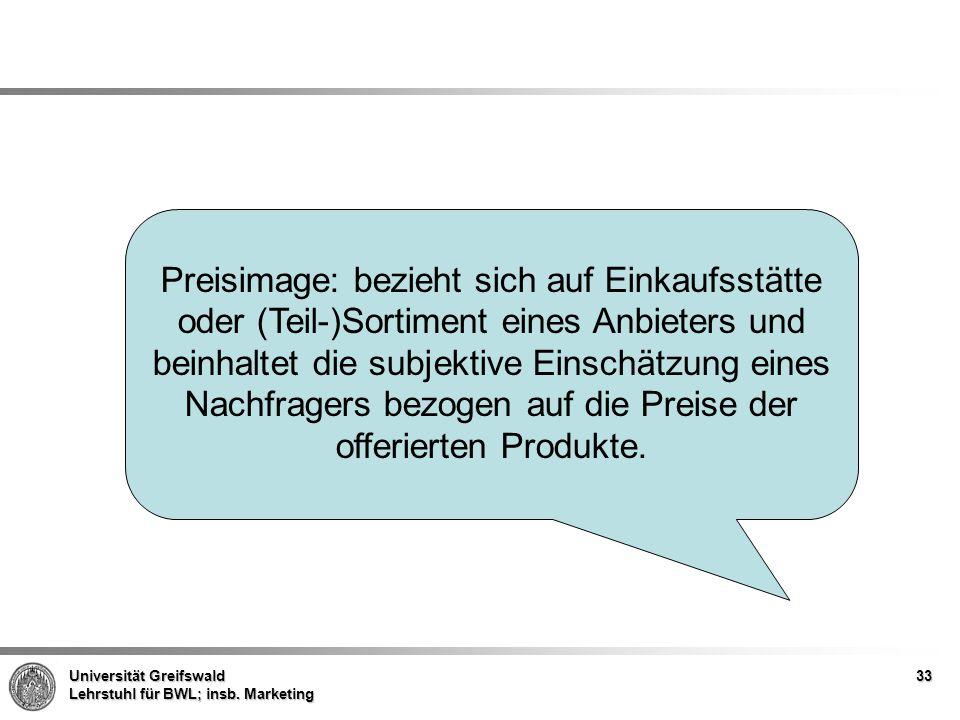 Universität Greifswald Lehrstuhl für BWL; insb. Marketing Preisimage: bezieht sich auf Einkaufsstätte oder (Teil-)Sortiment eines Anbieters und beinha