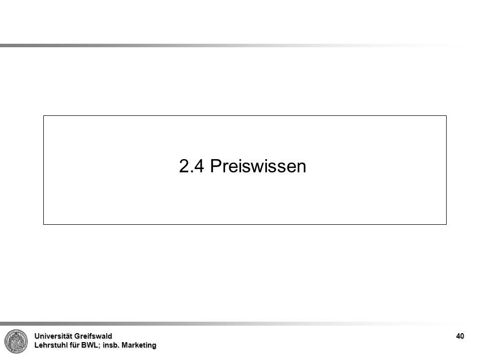 Universität Greifswald Lehrstuhl für BWL; insb. Marketing 2.4 Preiswissen 40