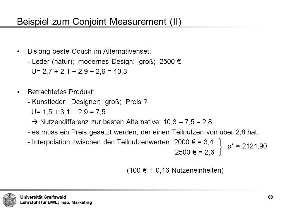 Universität Greifswald Lehrstuhl für BWL; insb. Marketing Beispiel zum Conjoint Measurement (II) Bislang beste Couch im Alternativenset: - Leder (natu