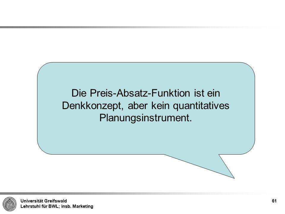 Universität Greifswald Lehrstuhl für BWL; insb. Marketing Die Preis-Absatz-Funktion ist ein Denkkonzept, aber kein quantitatives Planungsinstrument. 6