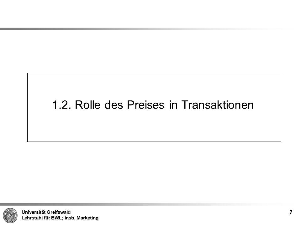 Universität Greifswald Lehrstuhl für BWL; insb. Marketing 1.2. Rolle des Preises in Transaktionen 7