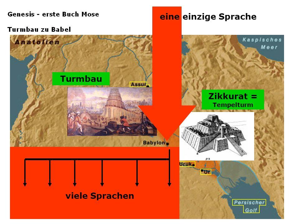 Turmbau Zikkurat = Tempelturm viele Sprachen eine einzige Sprache