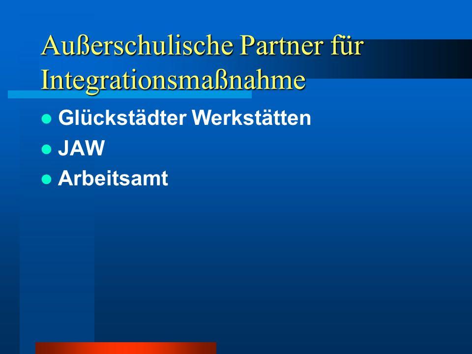 Außerschulische Partner für Integrationsmaßnahme Glückstädter Werkstätten JAW Arbeitsamt
