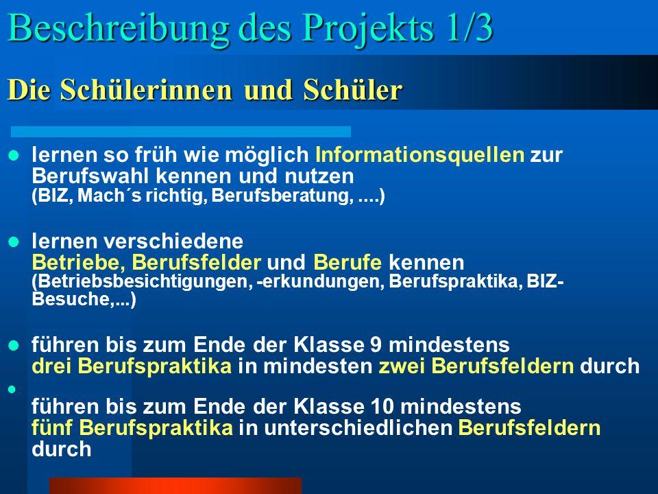 Beschreibung des Projekts 1/3 lernen so früh wie möglich Informationsquellen zur Berufswahl kennen und nutzen (BIZ, Mach´s richtig, Berufsberatung,...