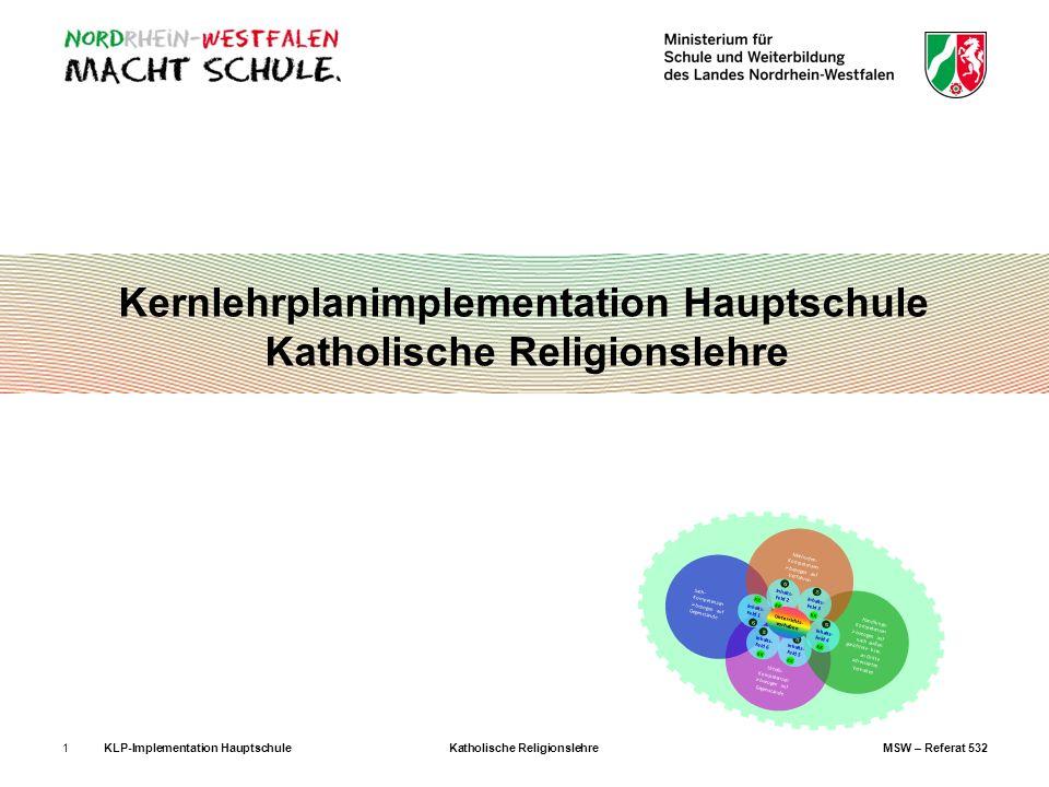 KLP-Implementation Hauptschule Katholische Religionslehre MSW – Referat 5321 Kernlehrplanimplementation Hauptschule Katholische Religionslehre Globalk