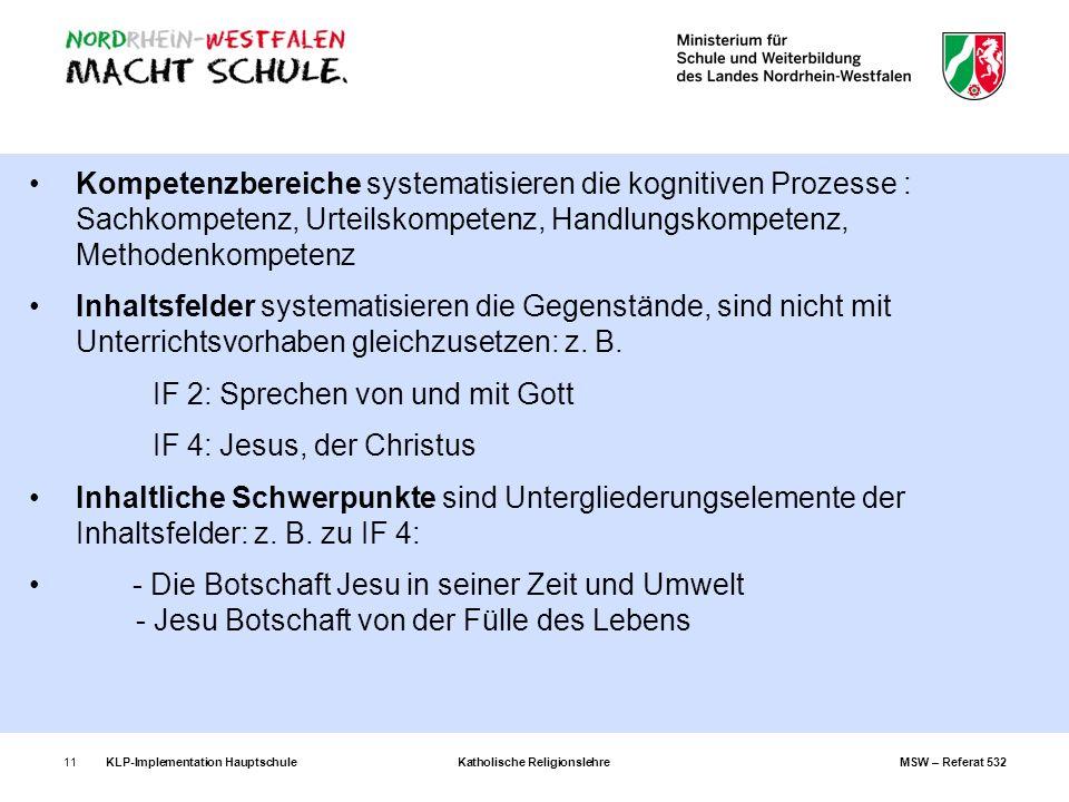 KLP-Implementation Hauptschule Katholische Religionslehre MSW – Referat 53211 Kompetenzbereiche systematisieren die kognitiven Prozesse : Sachkompeten