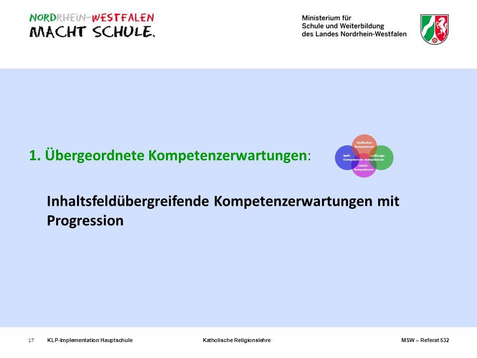 17 1. Übergeordnete Kompetenzerwartungen: Inhaltsfeldübergreifende Kompetenzerwartungen mit Progression Urteils- kompetenzen Sach- Kompetenzen Handlun