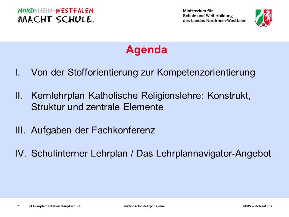 KLP-Implementation Hauptschule Katholische Religionslehre MSW – Referat 5322 I.Von der Stofforientierung zur Kompetenzorientierung II.Kernlehrplan Kat