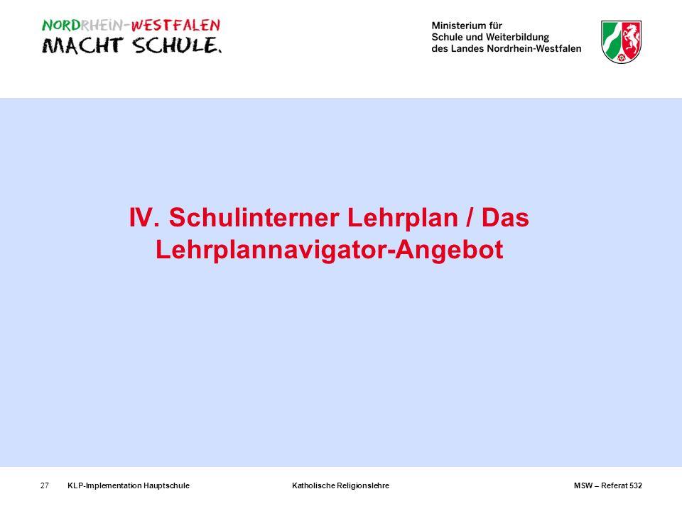 KLP-Implementation Hauptschule Katholische Religionslehre MSW – Referat 53227 IV. Schulinterner Lehrplan / Das Lehrplannavigator-Angebot
