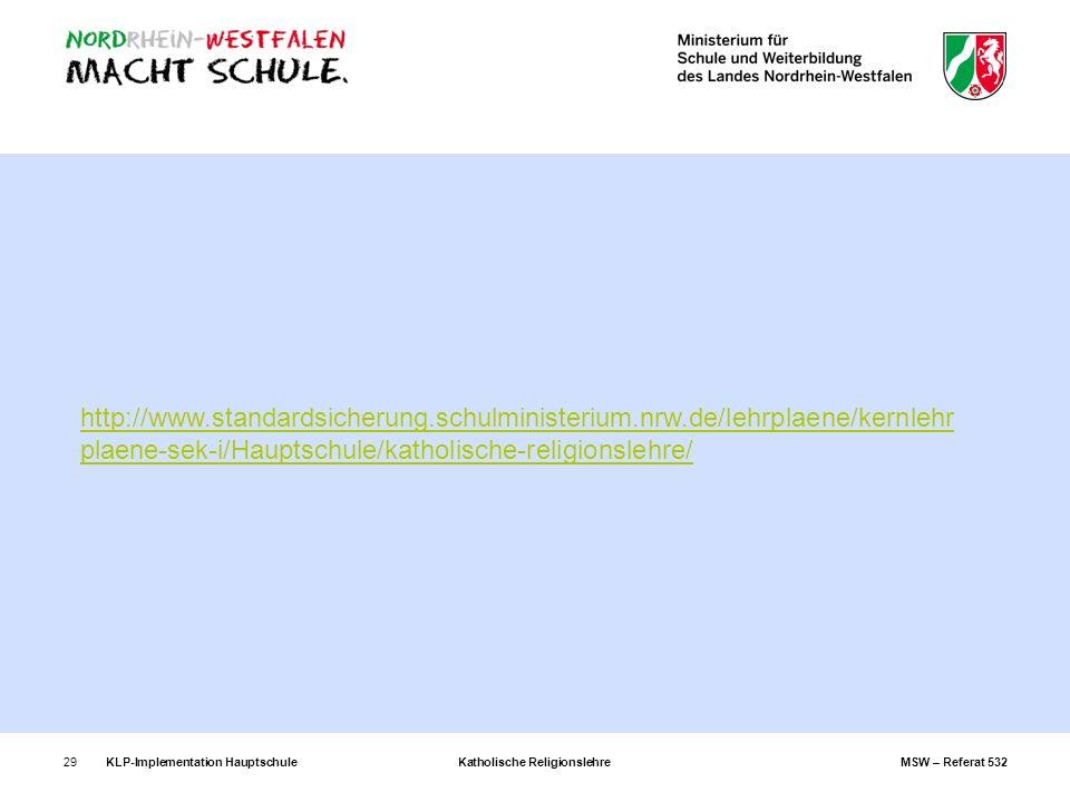 KLP-Implementation Hauptschule Katholische Religionslehre MSW – Referat 53229 http://www.standardsicherung.schulministerium.nrw.de/lehrplaene/kernlehr