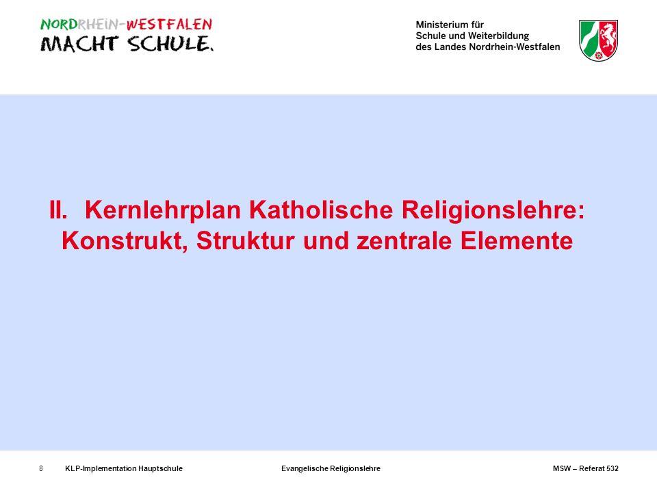 KLP-Implementation Hauptschule Evangelische Religionslehre MSW – Referat 5328 II. Kernlehrplan Katholische Religionslehre: Konstrukt, Struktur und zen