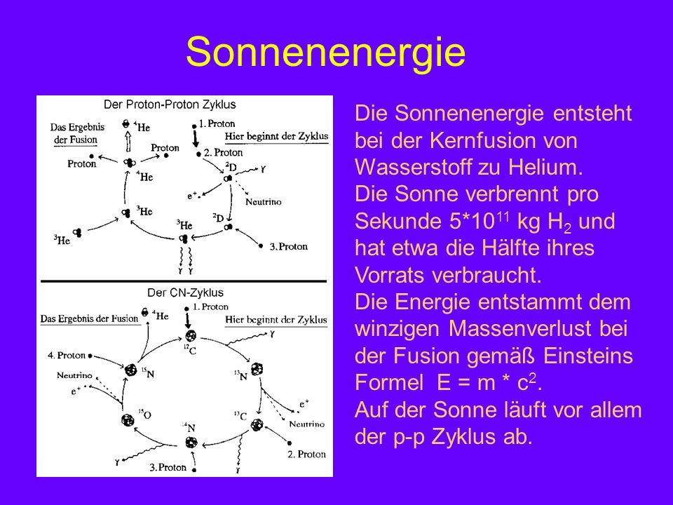Sonnenenergie Die Sonnenenergie entsteht bei der Kernfusion von Wasserstoff zu Helium. Die Sonne verbrennt pro Sekunde 5*10 11 kg H 2 und hat etwa die