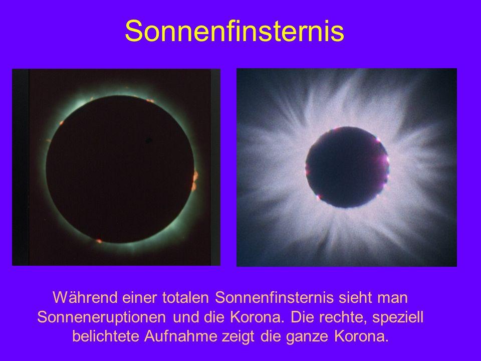 Sonnenfinsternis Während einer totalen Sonnenfinsternis sieht man Sonneneruptionen und die Korona. Die rechte, speziell belichtete Aufnahme zeigt die