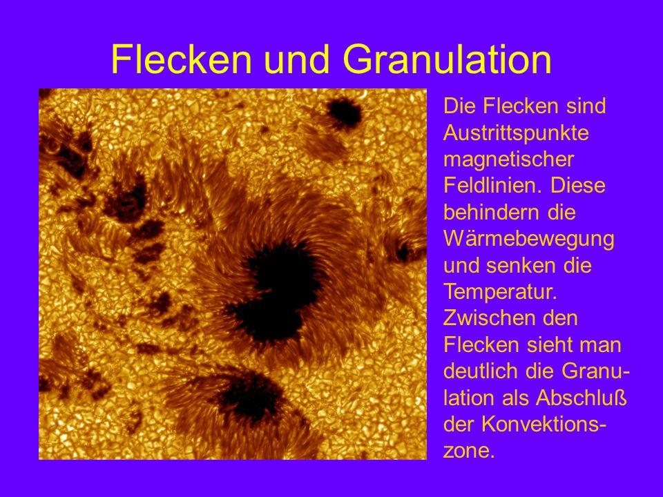 Flecken und Granulation Die Flecken sind Austrittspunkte magnetischer Feldlinien. Diese behindern die Wärmebewegung und senken die Temperatur. Zwische