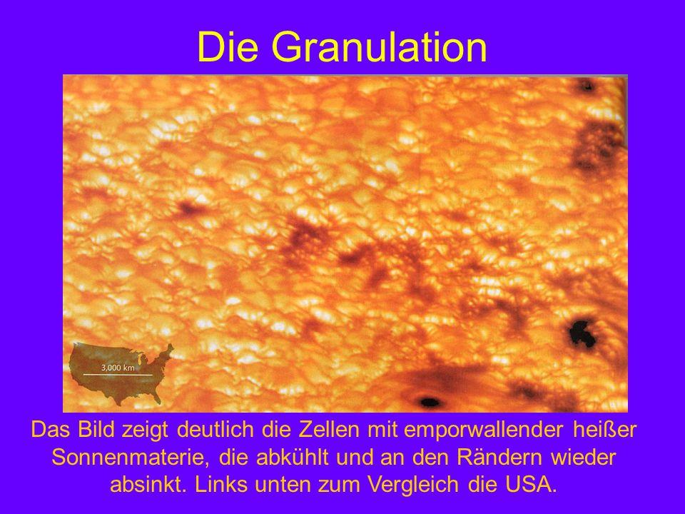 Die Granulation Das Bild zeigt deutlich die Zellen mit emporwallender heißer Sonnenmaterie, die abkühlt und an den Rändern wieder absinkt. Links unten